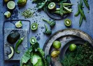 Delicious Green Vegetables arranged on a beautiful slate surface
