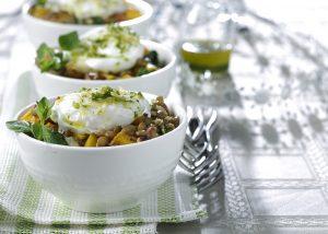 Kale lentil breakfast bowl